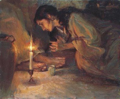 mary pours the oil